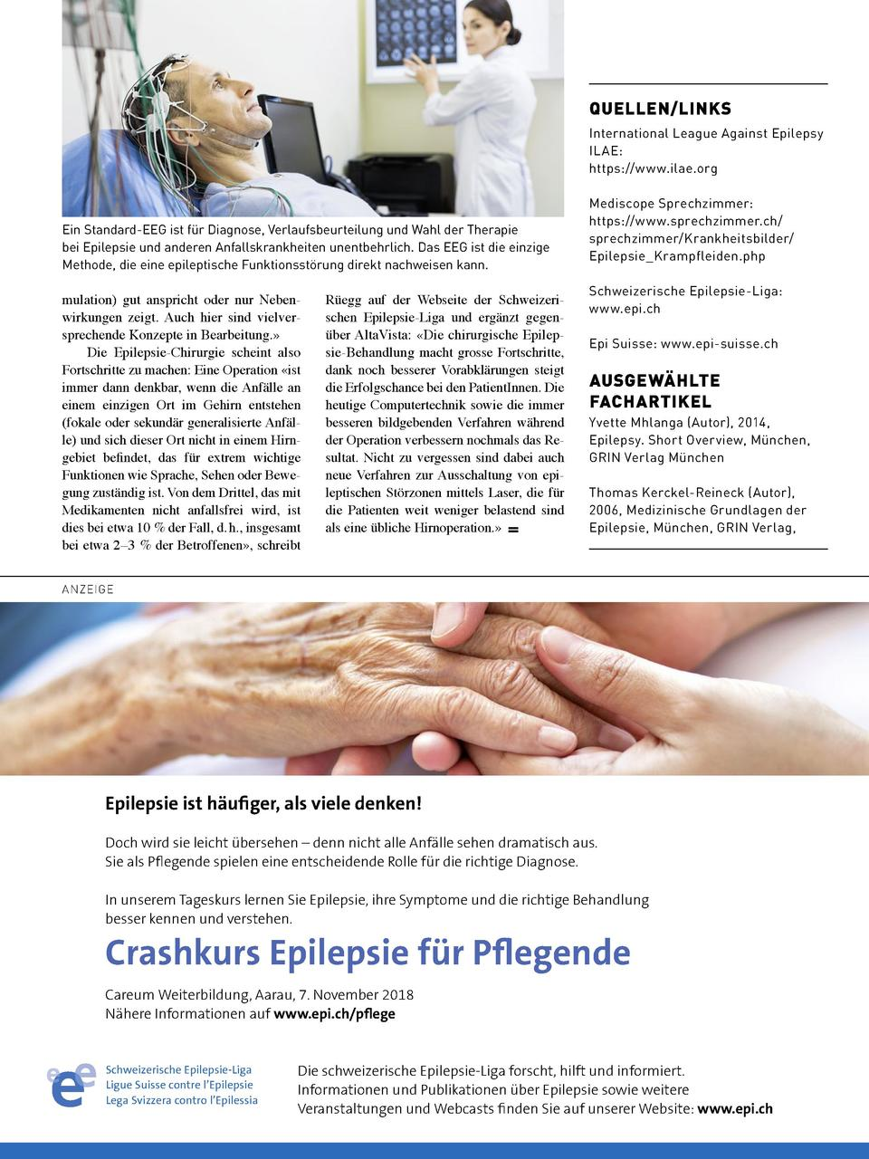 QUELLEN LINKS International League Against Epilepsy ILAE  https   www.ilae.org  Ein Standard-EEG ist f  r Diagnose, Verlau...